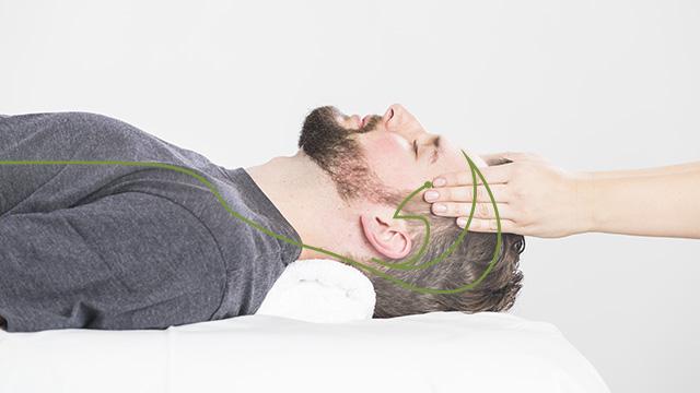 Ein Klient liegt am Rücken. Die Kinesiologin aktiviert sanft mit ihren Fingern, die Punkte des Gallenblasen-Meridians am Kopf des Klienten.